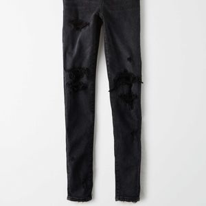 American Eagle Black Distressed/Patched Jegging